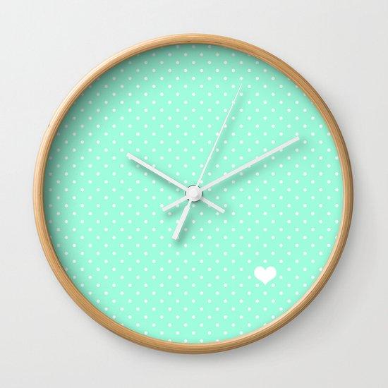 Mint Green And White Polka Dot Wall Clock By Kat Mun