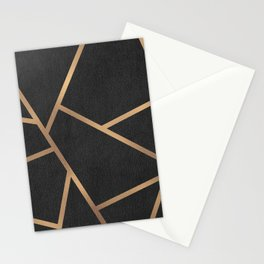 Dark Grey and Gold Textured Fragments - Geometric Design Stationery Cards