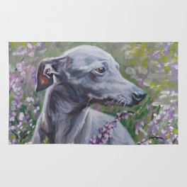 Italian Greyhound dog art from an original painting by L.A.Shepard Rug