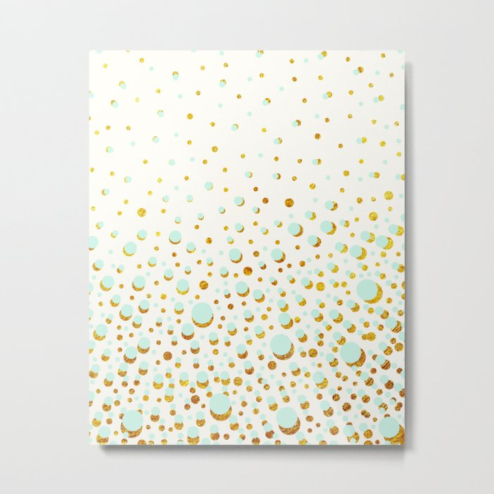 Polka dots Mint - gold Metal Print