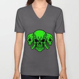 Skull Heads Human Skeleton Bones Bony Mask Gift Unisex V-Neck