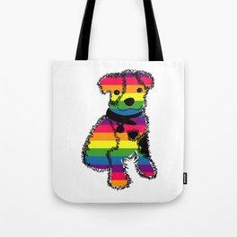 LGBT Rainbow Puppy Dog Tote Bag
