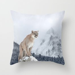 Portrait of a cougar. Throw Pillow
