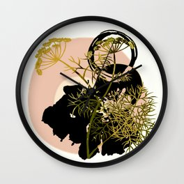 Umbellifer and abstract background Wall Clock