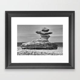 The Cairn in Black and White Framed Art Print