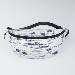 Tropical Island Vintage Hawaii Summer Pattern in Navy Blue Fanny Pack