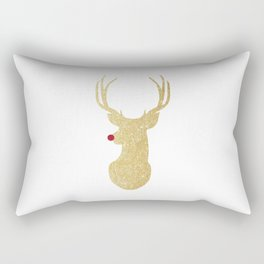 Rudolph The Red-Nosed Reindeer | Gold Glitter Rectangular Pillow