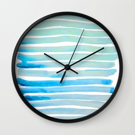 New Year Blue Water Lines Wall Clock