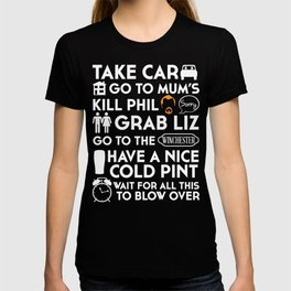 SHAUN OF THE DEAD THE PLAN WHITE T-shirt