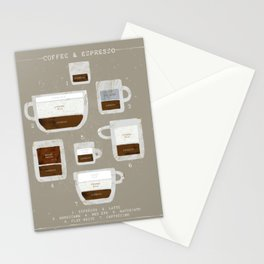 Coffee and Espresso Chart Stationery Cards