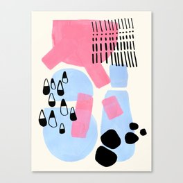 Fun Colorful Abstract Mid Century Minimalist Pink Periwinkle Cow Udder Milk Organic Shapes Canvas Print