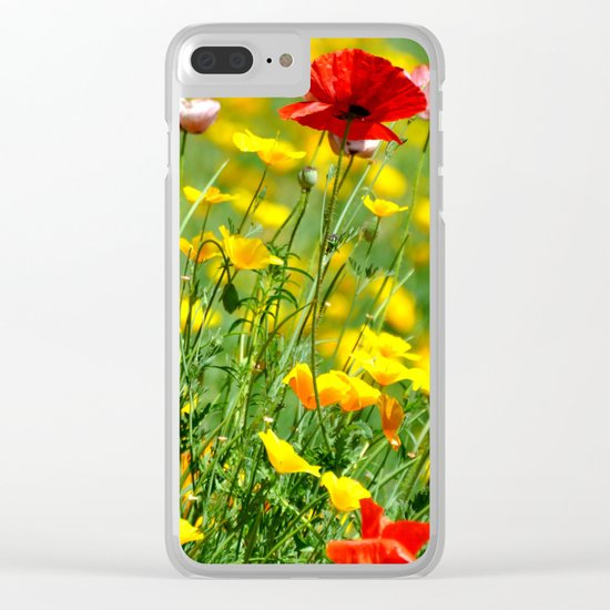 WILD POPPIES Clear iPhone Case