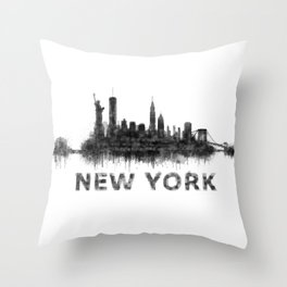 NY New York City Skyline NYC Black-White Watercolor art Throw Pillow