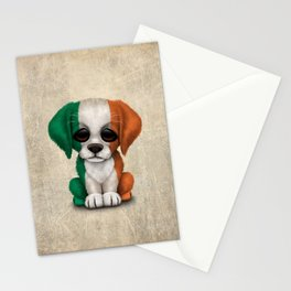 Cute Puppy Dog with flag of Ireland Stationery Cards