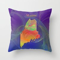 maine Throw Pillows featuring Maine Map by Roger Wedegis