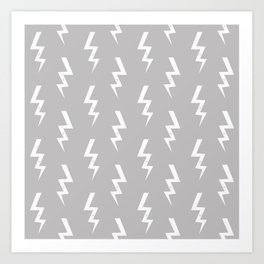 Bolts lightening bolt pattern grey and white minimal cute patterned gifts Art Print