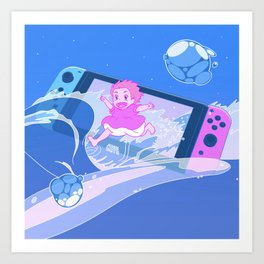 "Retro Anime x Gaming Dreamscape - ""He keeps me in a bubble so I swam away from home."" Art Print"