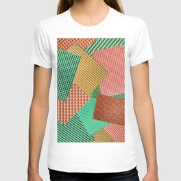 Abstract collage of color images of food waffles T-shirt