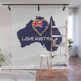 Love Australia Silhouette Map With Flag Wall Mural