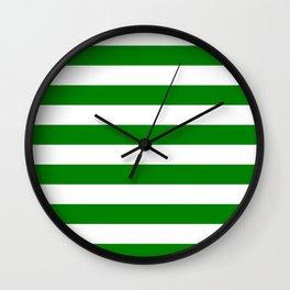 Horizontal stripes / green Wall Clock