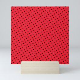 Kissy Flame Kissed Lipstick Retro Red Polka Dot (Black) Mini Art Print