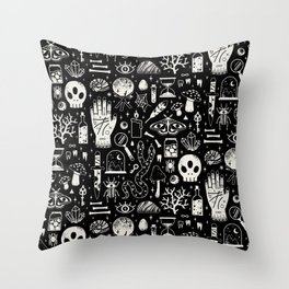 Curiosities: Bone Black Throw Pillow