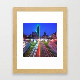 Dallas Texas Skyline - Dealey Plaza - Square Format Framed Art Print