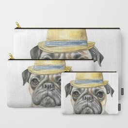 Pug with Fedora Hat Watercolor Carry-All Pouch