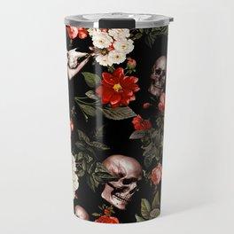 Floral and Skull Dark Pattern Travel Mug
