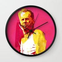 die hard Wall Clocks featuring Live fast die hard by Robert Farkas