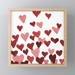 Valentine's Day Watercolor Hearts - red Framed Mini Art Print