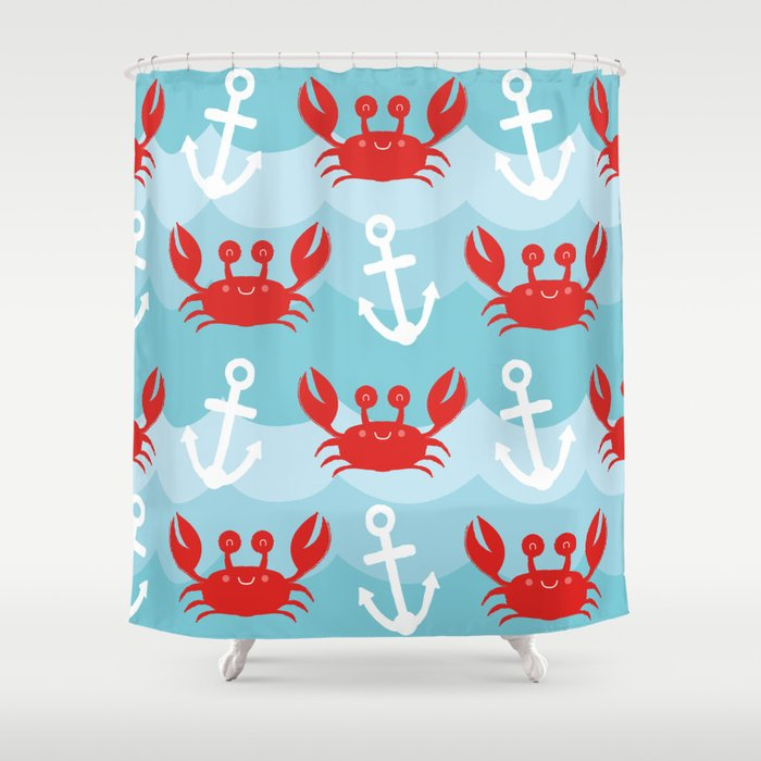 Anchors Away Crab Shower Curtain
