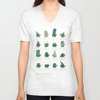 study V-neck T-shirts featuring A Study of Turtles by Hector Mansilla