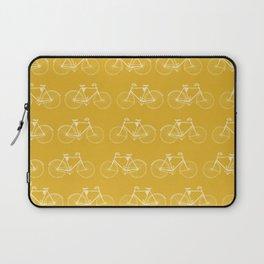 Saffron-Yellow Vintage Bicycle Pattern Laptop Sleeve