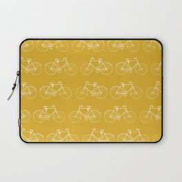 Saffron-Yellow Vintage Bicycle Pattern Laptop Sleeve