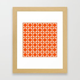 Vermillion Elegant Grid Dots Framed Art Print