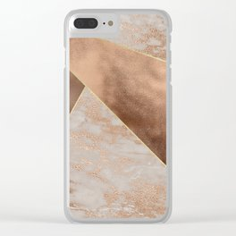 Copper Foil and Blush Rose Gold Marble Triangles Clear iPhone Case