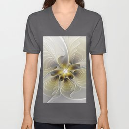 Gold And Silver, Abstract Flower Fractal Unisex V-Neck