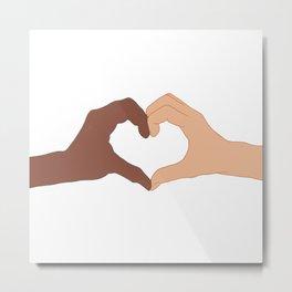 Black Lives Matter Equality and Friendship Heart Shape Hands Metal Print