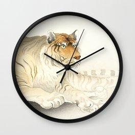 Resting Tiger - Vintage Japanese woodblock print Art Wall Clock