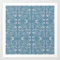 Ornate Pattern, Pale Blue & White Art Print