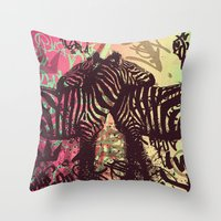 zebra Throw Pillows featuring ZEBRA by Nechifor Ionut