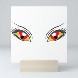 Red demon eyes, creepy, woman Mini Art Print