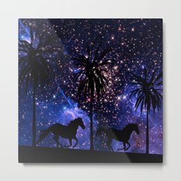 Galloping horses under starry sky Metal Print