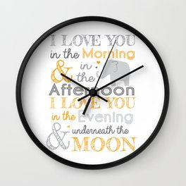 Elephant Nursery Poem - Orange Wall Clock
