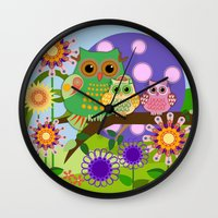 bebop Wall Clocks featuring Owls, Flowers Fantasy design by thea walstra