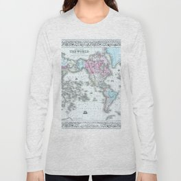 Vintage World Map 1855 Long Sleeve T-shirt