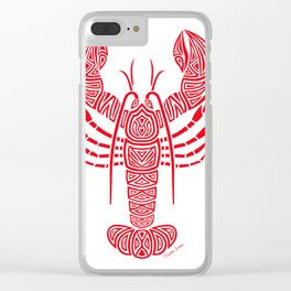 Tribal Maine Lobster on White Clear iPhone Case