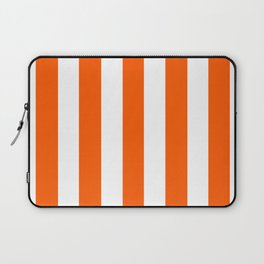 Willpower orange - solid color - white vertical lines pattern Laptop Sleeve