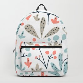 Coral Duck Egg Blue Greige Floral Leaves Backpack